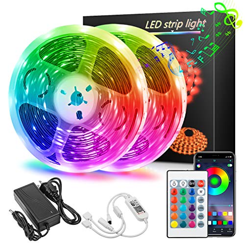 Lonfenner Led Strip Lights 39.36Ft 12m 12V Power Supply Wireless Smart App 5050 RGB Light 360 LEDs with 24-Key IR Remote Controller Sync to Music Flexible Colors Changing for Home, Bedroom, Kitchen
