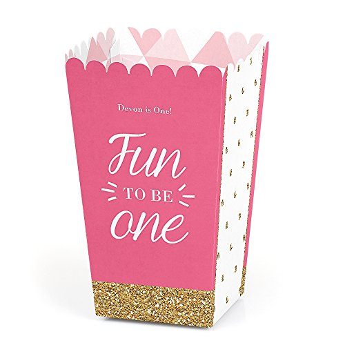 Big Dot of Happiness Personalized Fun to be One - 1st Birthday Girl - Custom Birthday Party Favor Popcorn Treat Boxes - Custom Text - Set of 12