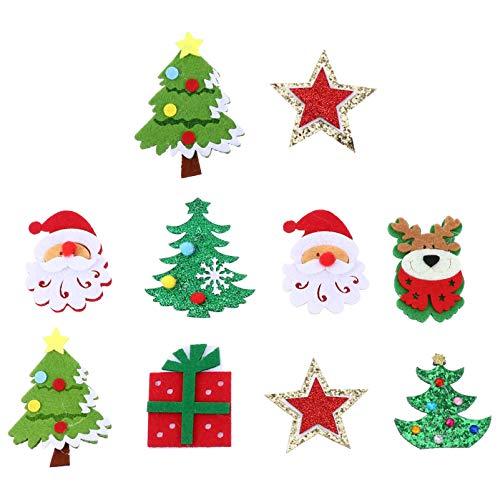Tomaibaby 10Pcs Apliques de Fieltro Adorno Navideño Santa Elk Árbol Estrella Caja de Regalo Árbol de Navidad Decoraciones Colgantes para Decoración de Fiesta de Vacaciones en Casa (Estilo
