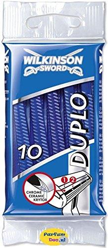 Wilkinson Sword Duplo - 10 Cuchillas de Afeitar Desechables de Doble Hoja para Hombre