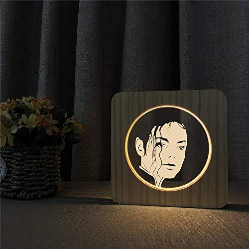 Michael Jackson Beliebte Tanzlieder Rockmusik Legendärer Superstar 3D LED Arylic Holz Nachttischlampe Tisch Nachtlicht Freunde Kinder Geschenk Raumdekoration