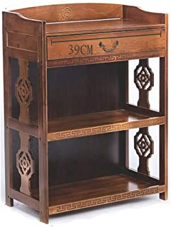 KELE Retro Bookshelf, Solid Wood Creative Floor-Standing Chinese Antique Bookcase Simple Living Room Storage cabinets Bamboo Shelves-B 53X29X82cm