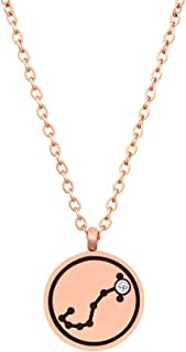 12 Zodiac Constellation Necklace For Women Girls Star Birth Sign Necklace Gifts Horoscope Necklace Rose Gold 16