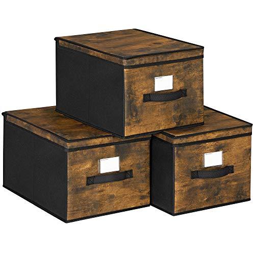 SONGMICS Cajas Organizadoras Plegables, Cajas de Almacenamiento con Tapas y Etiquetas, Juego de 3 Organizador para Ropa, Juguetes, 30 x 40 x 25 cm, Tela no Tejida, Marrón Rústico y Negro RFB103B01
