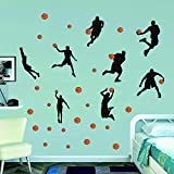 Watercolor Basketball Wall Decals Sport Player Wall Stickers Peel&Stickers Wall Art for Bo...