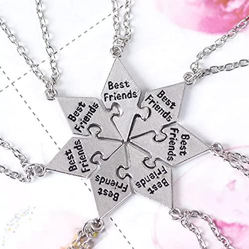YIKOUQI Juego de 7 Piezas de Mejores Amigas, Collar de Buen Amigo BFF, Colgante de Amistad, Collar de Regalo de joyería de Palabra para Mujer