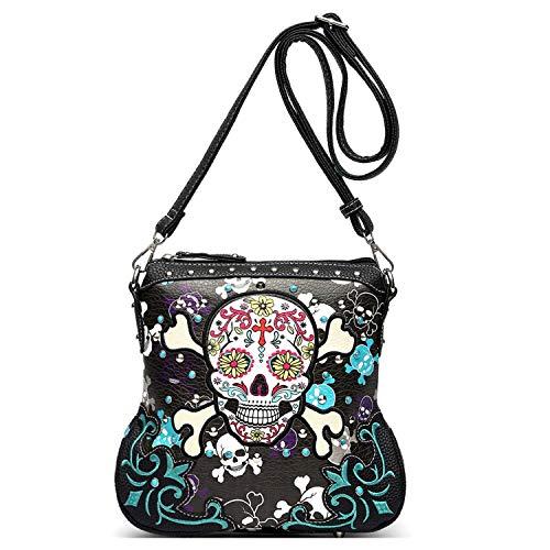Sugar Skull Day of the Dead Cross Bone Concealed Carry Purse Women Cross Body Handbag Shoulder Bag (Black Crossbody Only)