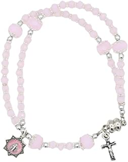 4mm Glass Bead Rosary Bracelet with Miraculous Medal and Crucifix Light Pink