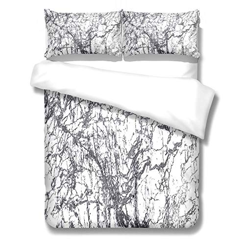 White Ink Painting Big Tree Duvet Cover 3-Piece Set Microfiber Washable Bedding Simple And Fresh Style