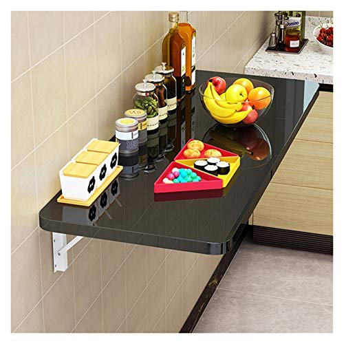WZLL Folding Wall Mounted Table Multifunction Collapsible Table Heavy Duty Wall Mounted Workbench Double Support, Used For Kitchen, Bedroom, Balcony (Color : Black, Size : 60 * 50cm/24 * 20in)