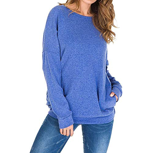 SUPER㊣R Womens Crew Neck Solid Color Teddy Fleece Basic Jumper Tees Shirts Cardigans with Pockets Womens Long Sleeve Oversized Cotton Linen Tunic Tops Sweatshirt Blouses T-Shirt for Autumn Winter