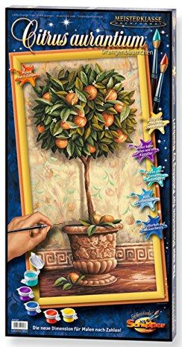 Schipper 609220398 - Malen nach Zahlen - Orangenbäumchen - Bilder malen für Erwachsene, inklusive Pinsel und Acrylfarben, 40 x 80 cm