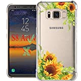 luolnh Galaxy S8 Active Case,Samsung Galaxy S8 Active Case with Flower, Slim Shockproof Clear Floral Pattern Soft Flexible TPU Back Cover for Samsung Galaxy S8 Active (Sunflower)