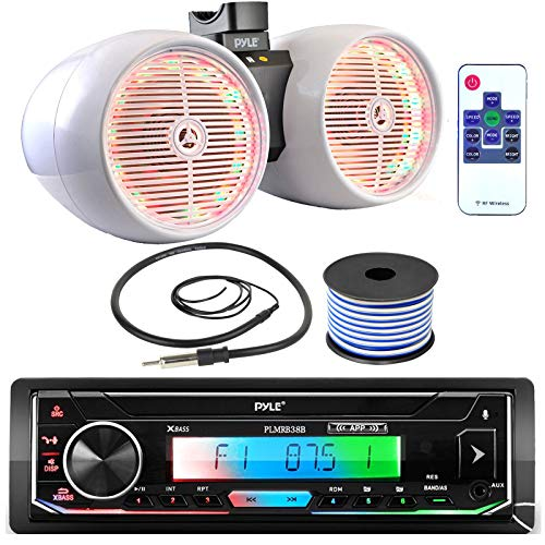 Pyle Single DIN AM FM Radio USB AUX Bluetooth Marine Stereo Black Receiver Bundle Combo with 8  600W Dual Wakeboard White Marine Multi-Color LED Tower Speakers, Wired Antenna, 18 Gauge Speaker Wire