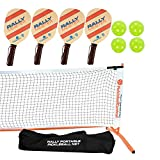 Rally Meister Pickleball Net, Paddle and Ball Set (Includes Matching Rally Orange...