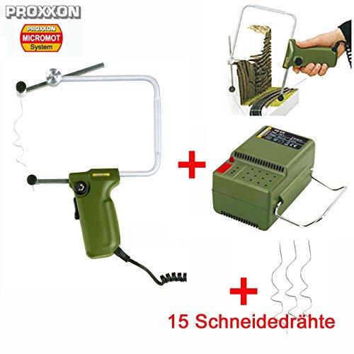 PROXXON Styroporschneider / Styropor Heißdraht-Schneidegerät THERMOCUT 12/E - inklusive PROXXON Netzgerät NG2/S und 15 PROXXON Schneidedrähten