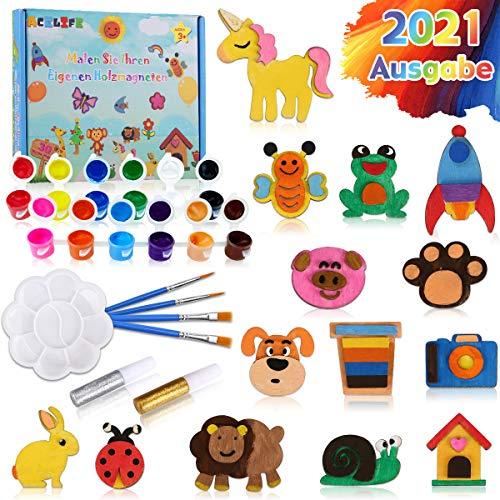 AceLife 30 STK. Bastelset Kinder Holz Magnet Kühlschrankmagnet zum Bemalen und Basteln für Kinder ab 3 4 5 6 7 8 Jahre,Mal-Set DIY Spielzeug Geburtstagsfeier Gefälligkeiten