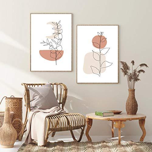 LZASMMVP Sonne und Mond Moderne Minimal Line Art Drucke Pflanzen Poster Mid Century Wandkunst Bilder Boho Dekor Nordischen Stil für Wohnzimmer 50x70cmx2Pcs No Frame