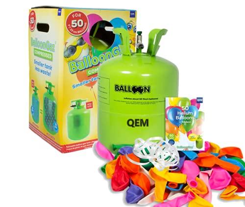 QEM Grande Bouteille hélium XL50 pour gonfler gonfler 50 Ballons de baudruche de 23cm (Non inclus)