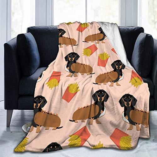 Doxie Dachshund Winer Dog Hot Dog y papas fritas disfraz de perro lindo ultra suave manta de microfibra suave y clida manta de franela para sof cama