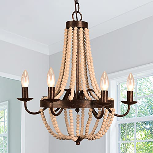 6-Candle Light Farmhouse Wood Bead Chandelier, Cottage Wooden French Country Pendant Light with Antique Rustic Frame Design (Rusty)