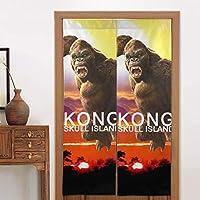 戸口カーテン コングスカルアイランド Kong Skull Island 断熱防寒 Curtain 和風カーテン 間仕切り 玄関 ドアカーテン 飾り おしゃれ 台所 洗面所 玄関用 和室 洋室兼用 飾り付け ドアカーテン 四季兼用 ドアカーテン 86 X 143 Cm
