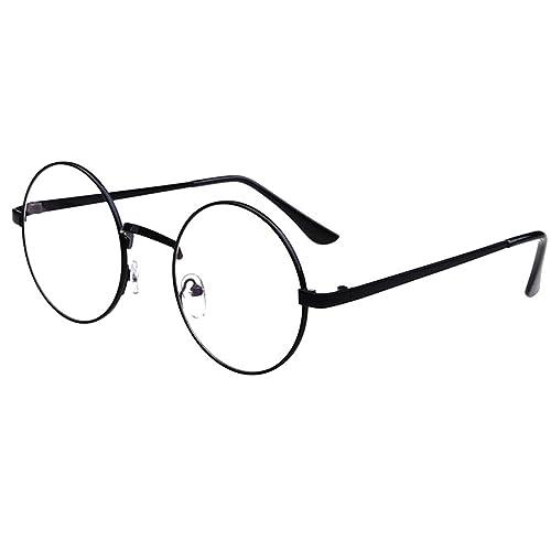 215cf4a281 Unisex Retro Glasses Round Metal Frame Clear lens Sunglasses Vintage Geek  Eyeglasses