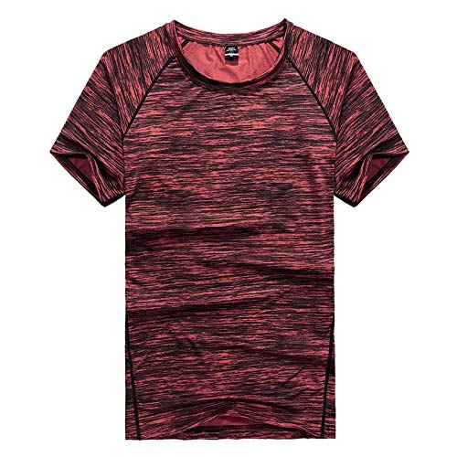 B/H Gym Running Top Workout Camisetas para Hombres,Men's Outdoor Quick-Drying Clothes, Plus Fertilizer to Increase Loose Casual Clothes-Red_XXL
