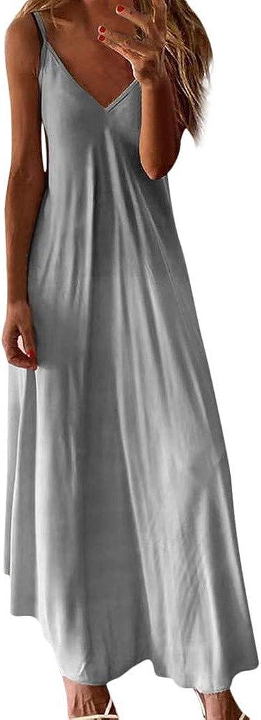 Maxi Dresses for Women, Women's Casual Tie Dye Gradient V Neck Sleeveless Plus Size Summer Spaghetti Strap Dress