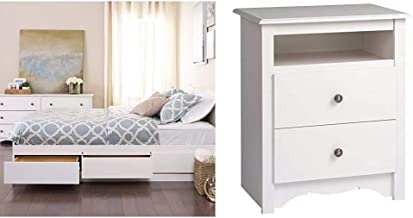 Prepac Mate's Platform Storage Bed with 6 Drawers, Queen, White & Monterey White 2-Drawer Tall Night Stand
