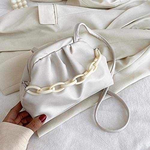 PANZZ Bags Chain Crossbody Bags Women Summer Shoulder Handbags Cross Body Bag, White, Mini