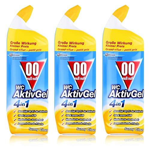 00 null null WC Aktiv Gel 4in1 Sunny Citrus 750 ml - Stark gegen Kalk (3er Pack)