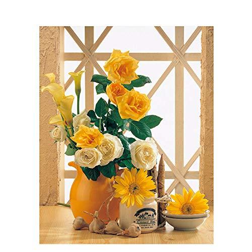 Zhonchng DIY olieverf, Verf door aantal Kits-Oranje Bloem 16X20 Inch Decor Decoraties Geschenken Met frame