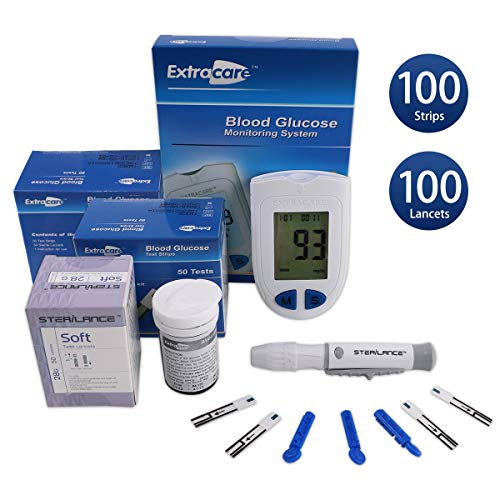 Blutzuckermessgerät Kit, Diabetes-Test-Kit, Blutzuckermessgerät, 100 Blut-Teststreifen, 1 Lancing Gerät, 100 Lancets