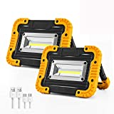 Rechargeable LED Work Light, 2 COB 1500LM Waterproof Job Light with...