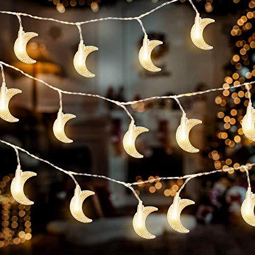 Ramadan - Guirnalda de luces con forma de luna, 80 ledes, funciona con pilas, iluminación decorativa para ventanas, chimeneas, jardines, interiores, para decoración de Ramadán