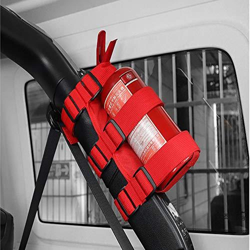 OUSHGO Adjustable Roll Bar Fire Extinguisher Holder Mount Strap for Wrangler Unlimited CJ YJ LJ TJ JK JKU JL JLU Red