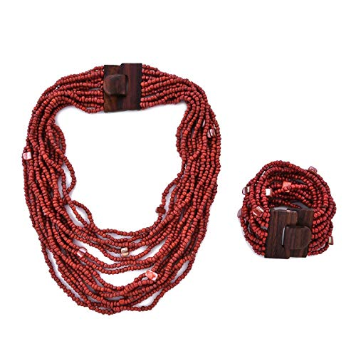Cherry Red Seed Bead Shell Wooden Buckle Stretchable Bracelet Multi Strand Boho Necklace Fashion Jewelry for Women Graduation Gifts for Her 18