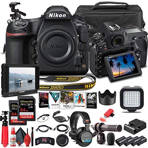 Nikon D850 DSLR Camera (Body Only) (1585) + 4K Monitor + Pro Headphones + Mic + 2 x 64GB Card + Case + Corel Photo Software + Pro Tripod + 3 x EN-EL 15 Battery + More (International Model) (Renewed)
