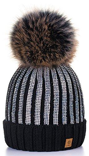 4sold Winter Autunno Inverno Cappello Cristallo più Grande Pelliccia Pom Pom Invernale di Lana Berretto delle Signore delle Donne Beanie Hat Pera Sci Snowboard di Moda (Black_Silver)