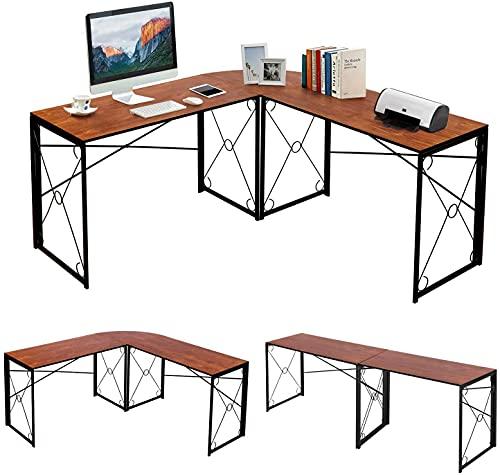 VECELO Eckschreibtisch Computertisch Winkelschreibtisch L-förmig Workstation-Ecktisch mit CPU-Ständer Home Office Großer Desktop-PC-Spieltisch, Kaffee (Braun, 150 * 150 * 75cm)