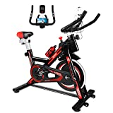 Furiousfitness Exercise Bikes, Stationary Indoor Fitness Bike Cycling with Phone Holder/LCD Display/Heart Rate Monitor, Belt Drive Flywheel Spin Bike Bicycle for Home Training, Cardio Workout