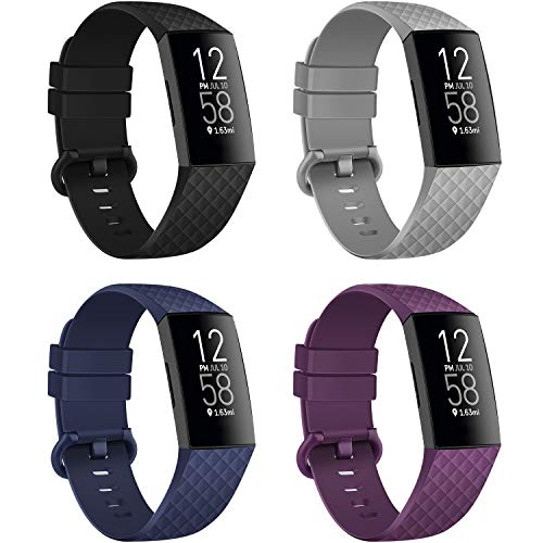 poshei 4 Packs Straps Compatible with Fitbit Charge 4 / Fitbit Charge 3 / Fitbit Charge 3 SE for Women and Men, Classic Replacement Wristband, Soft Silicon Waterproof Quick Release Sports Strap