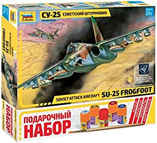 ZVEZDA 7227 P Soviet Ground-Attack Aircraft SU-25 FROGFOOT Gift Set (Paints Included) Scale 1/72 87 Details Lenght 9