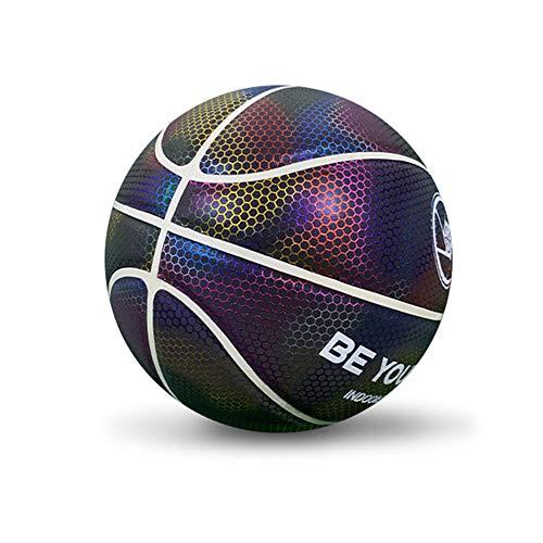 BIOBEY Bola de baloncesto reflectante n.º 7, la quinta generación adecuada para entrenamiento en interiores y exteriores, día y noche, equipada con 1 inflador, 1 bolsa de malla y 2 agujas esféricas.
