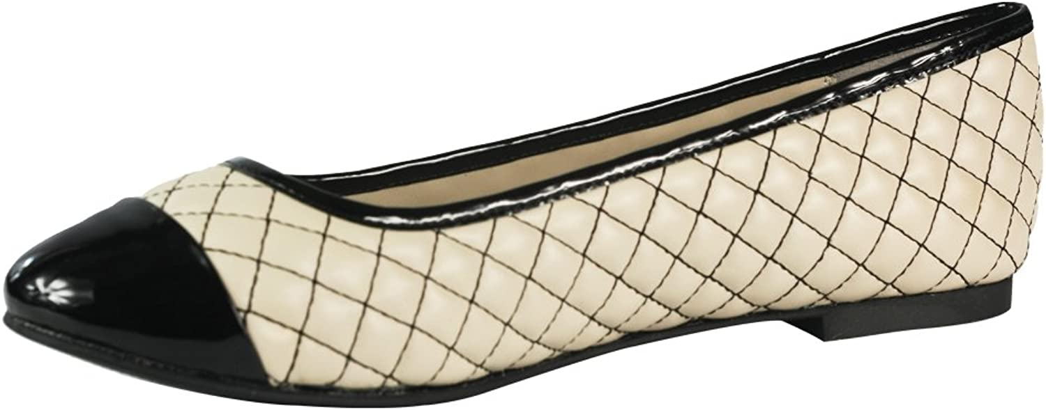 Cracens Women's Round-Toe Leather Flat Quilted Flat Nude