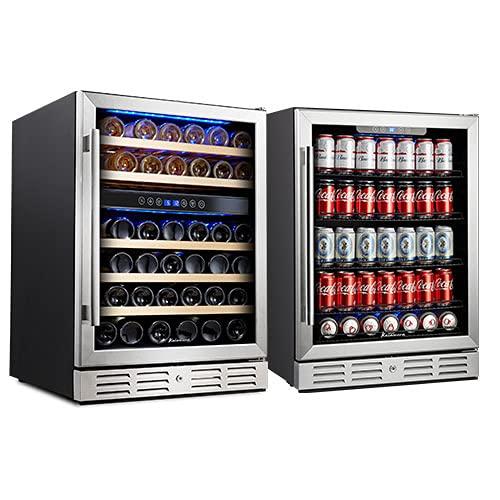 """Kalamera 24"""" Wine Cooler Refrigerator - Beverage Cooler - 46 Bottle Dual Zone & 154 Cans Beverage Cooler Built-in or Freestanding Fridge"""