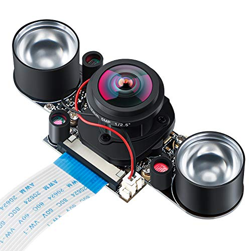 MakerHawk Raspberry Pi Camera IR Fisheye Wide-angle 150-160 Degree 5MP OV5647 Webcam Automatically Switching between Day-Vision and Night-Vision Shooing Mode for Raspberry Pi 2B/ 2B+/3B/3B+/4B
