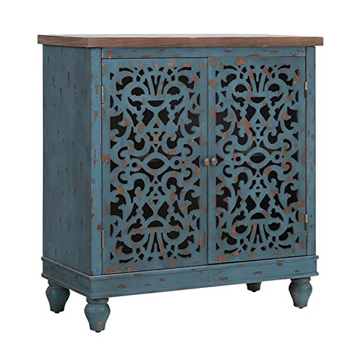 Sophia & William Storage Cabinet with 2 Doors, Accent Display Storage Organizer Distressed Console Cabinet with Wooden Frame and Hollow-Carved Floral Pattern for Entryway Living Room Bedroom, Blue