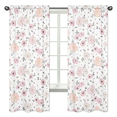 Blush Pink, Grey and White Window Treatment Panels Curtains for Watercolor Floral Collection by Sweet Jojo Designs - Set of 2